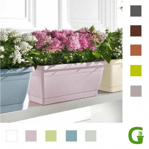 Venezia Blumenkasten Balkonkasten mit Untersetzer in 40 cm | 50 cm | 60 cm