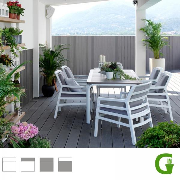 Nardi Gartenmöbel-Set Allora ausziehbarer Tisch 210/280 cm mit 4 oder 6 Lounge-Sesseln Aria