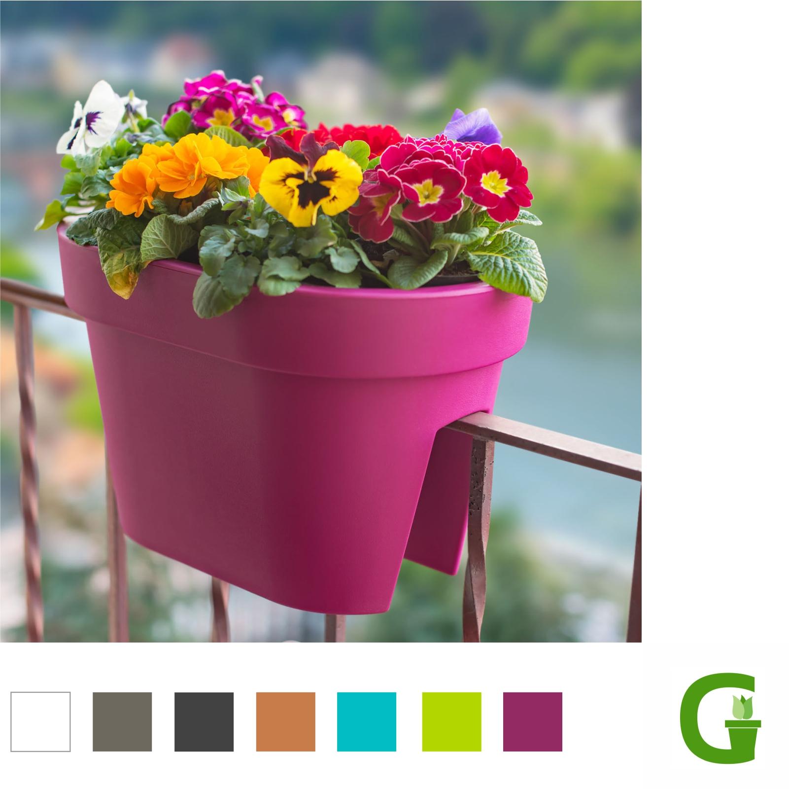 fresh flower balcony 40 cm gel nder blumentopf balkonkasten blumenkasten bridge ebay. Black Bedroom Furniture Sets. Home Design Ideas