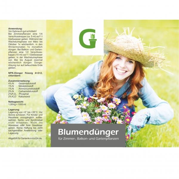 Blumendünger 1 l für Zimmer-, Balkon- und Gartenpflanzen